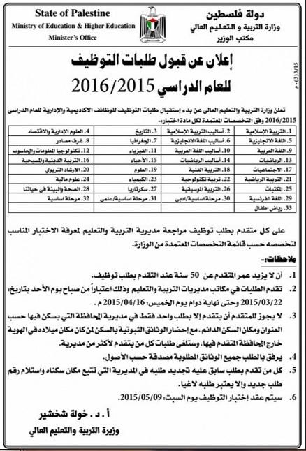 التربية التوظيف الدراسي 2015/2016