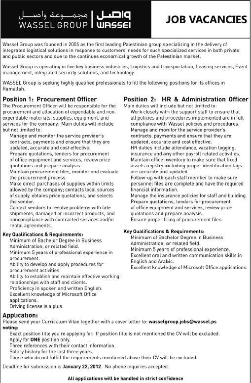 Palestine Job,WASSEL GROUP, Vacancies, Ramallah