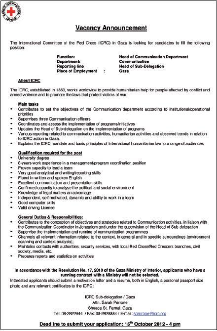 icrc of communication department gaza career unit