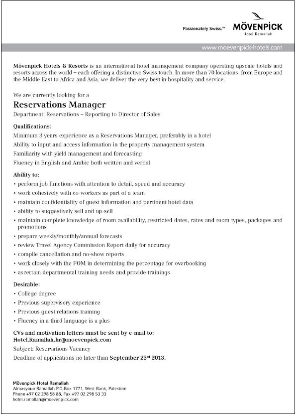 Movenpick Hotels& Resorts: Reservations Manager
