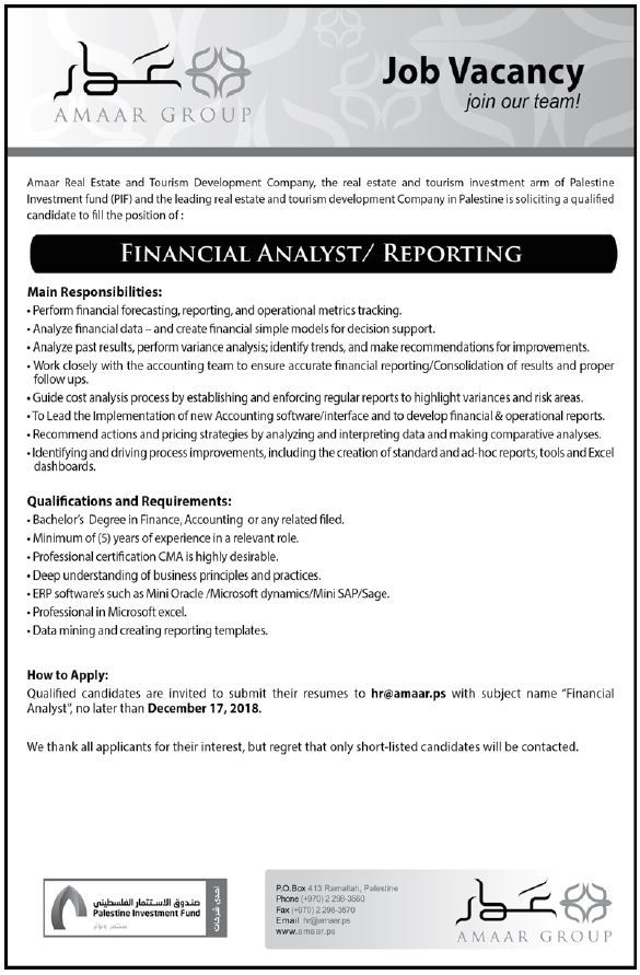 Amaar Group Financial Analyst Reporting Career Unit