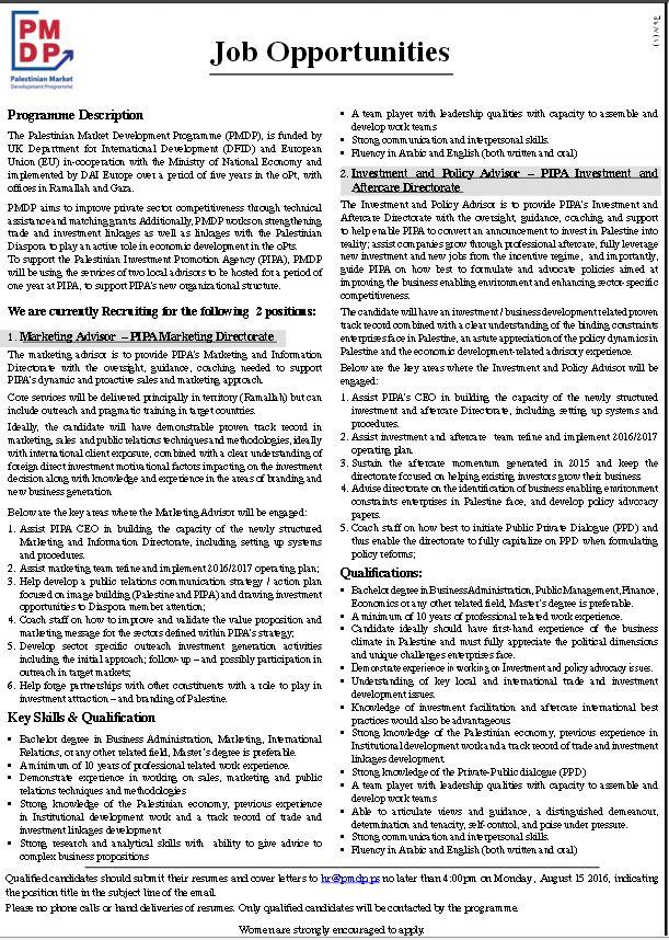 Palestinian Market Development Programme: Opportunities