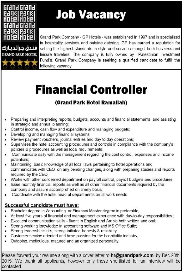 Grand Park Company: Financial Controller