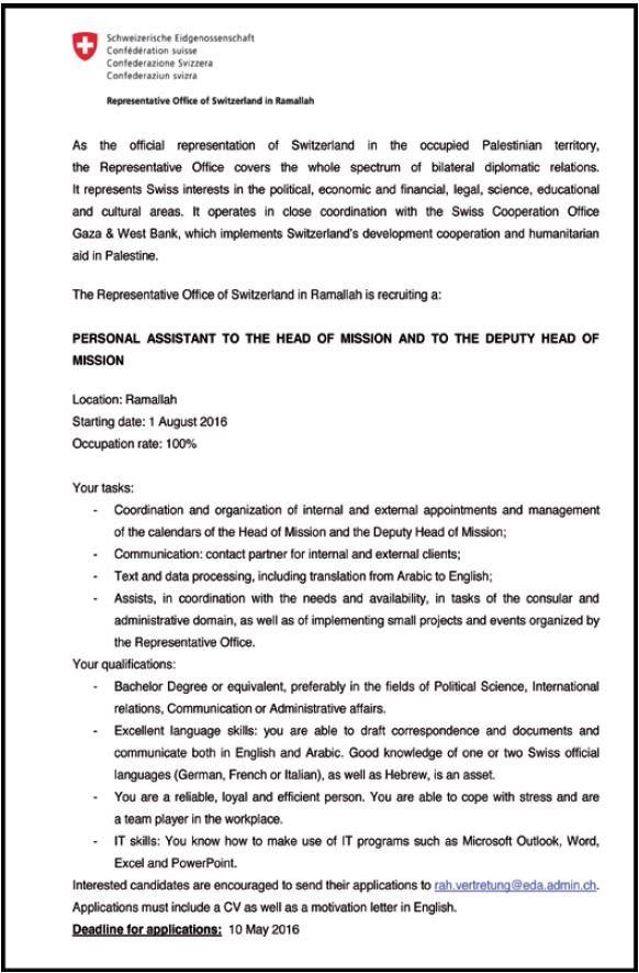 Representative Office Switzerland: Personal Assistant