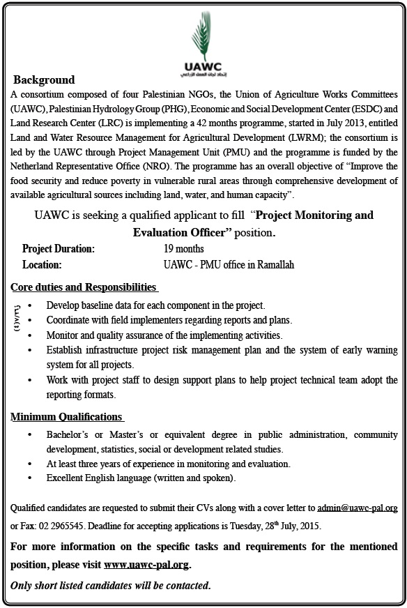 UAWC: Project Monitoring Evaluation Officer