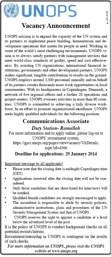 Palestine Vacancy, UNOPS, Communications Associate,
