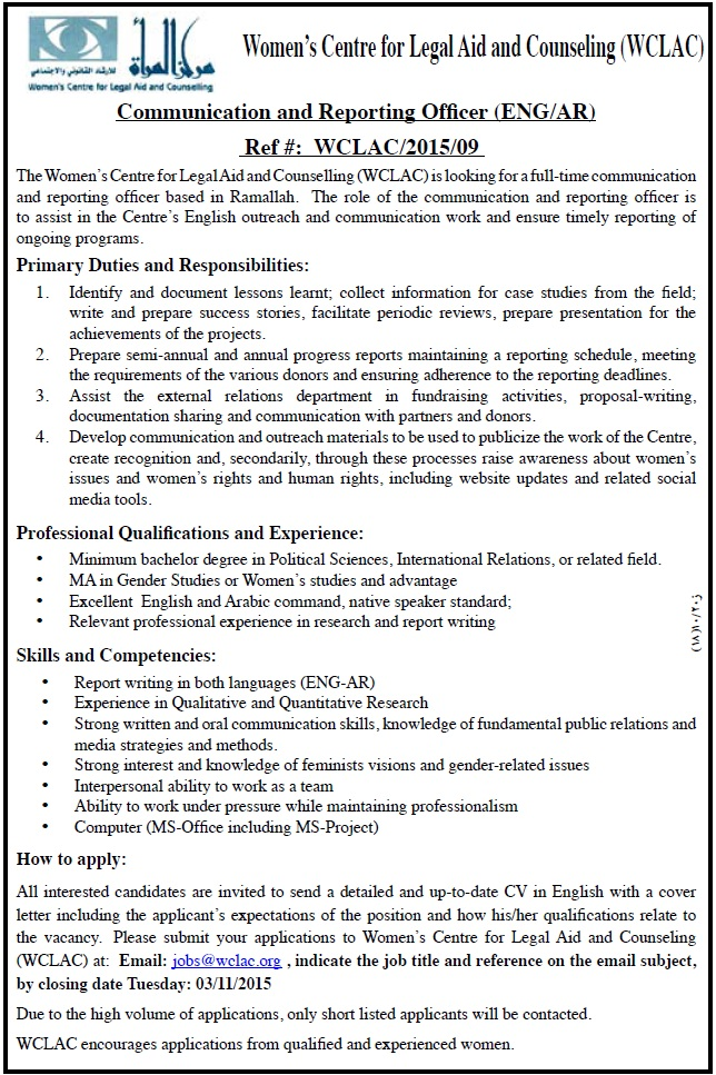 WCLAC: Communication & Reporting Officer